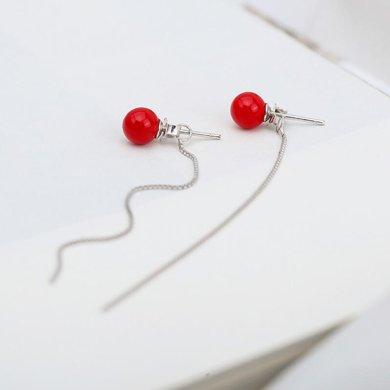 妍韻珠寶紅色氣質長款流蘇珍珠耳線耳釘KML00087紅色