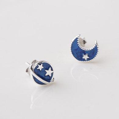 盈滿堂 S925純銀星星月亮耳釘原創深藍宇宙不對稱星月耳飾