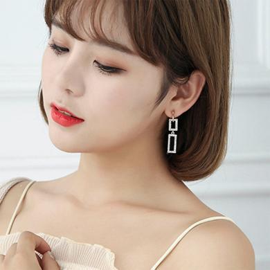 盈滿堂 925銀針幾何長方形拼接耳釘女時尚氣質百搭長款耳環
