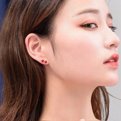 如熙 nuheel S925銀針櫻桃貝珠鋯石耳釘耳飾女