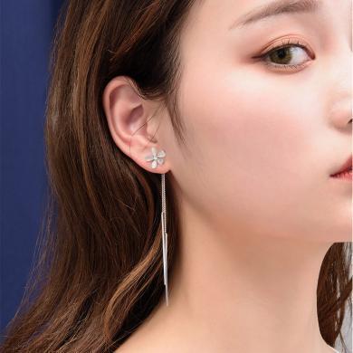 如熙 nuheel S925银针猫石眼流苏长款耳饰耳坠