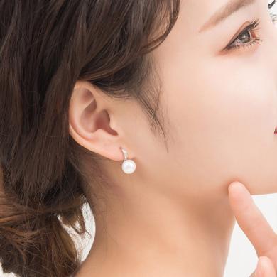 如熙 nuheel S925銀天然淡水珍珠女簡約鑲鋯石耳環耳釘