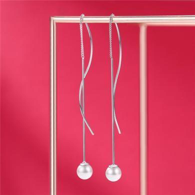 DTOTO 纯银超仙气质流苏耳环女网红耳钉工艺珍珠长款耳线