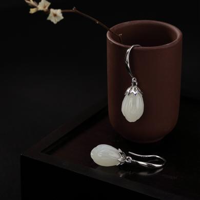 风下HrflyS925纯银复古镶嵌天然和田玉白玉兰花简约女士款银耳坠耳饰