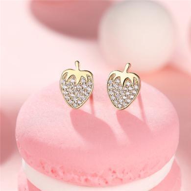 DTOTO 鑲鋯草莓耳釘女耳環氣質甜美耳墜小耳扣日韓國時尚耳飾品