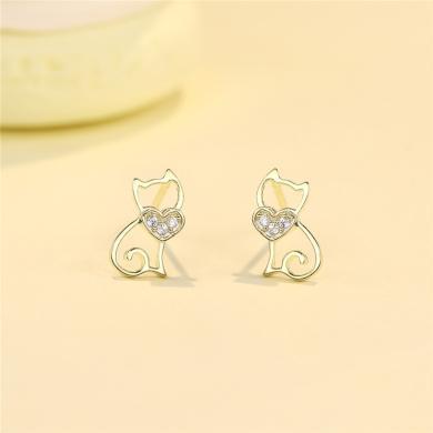 DTOTO 女人貓線條耳釘S925銀性感魅惑耳環