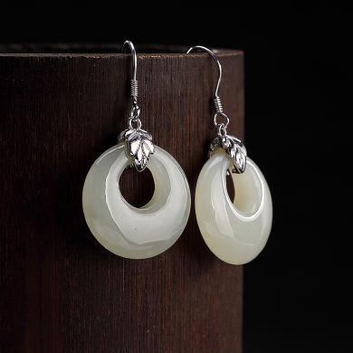 風下HrflyS925純銀鑲嵌和田玉白玉個性簡約女士款平安扣耳墜耳環耳飾