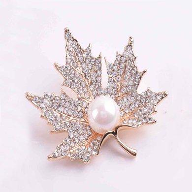 盈滿堂 時尚優雅楓葉珍珠胸針