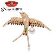 京润珍珠飞燕 合金镶淡水珍珠胸针 8-9mm 白色 馒头形 珠宝送女友