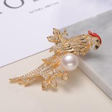京润珍珠俏鹦鹉 12-13mm馒头形 合金镶淡水珍珠胸针 珠宝送女友