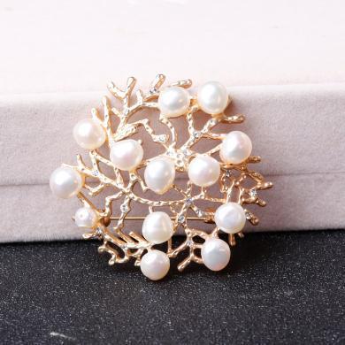 盈滿堂 不規則天然淡水珍珠鏤空珊瑚胸針別針