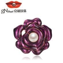 京润珍珠争春 合金镶淡水珍珠胸针 11-12mm 白色 馒头形 花朵珠宝礼