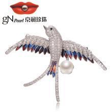 京润珍珠 飞燕 合金镶淡水珍珠胸针 8-9mm 白色 馒头形 珠宝送女友 银色款
