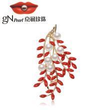 京润珍珠珠宝 幽兰 合金镶淡水珍珠胸针