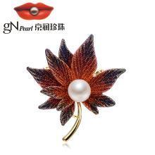 京润珍珠珠宝 枫叶 合金镶淡水珍珠胸针