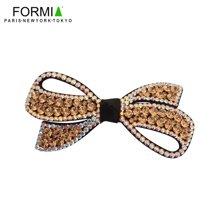 Formia芳美亚头花横夹盘发女头饰弹簧夹 发饰水钻发夹 顶夹发卡  金色