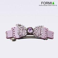 FORMIA芳美亚时尚盘发平夹中号珠光色蝴蝶结水晶宝石水钻头饰  珠光紫