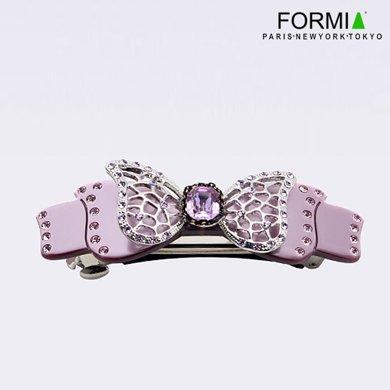 FORMIA芳美亞時尚盤發平夾中號珠光色蝴蝶結水晶寶石水鉆頭飾  珠光紫