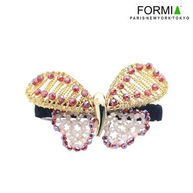 FORMIA芳美亞手工串珠水晶蝴蝶發夾頂夾彈簧夾橫夾頭飾發飾  紅色