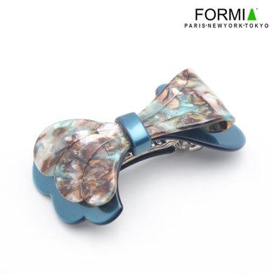 FORMIA芳美亞板材發夾平夾頂夾盤發蝴蝶結頭飾 藍色