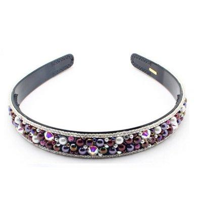 芳美亞頭發飾品發箍水鉆珍珠發飾壓發發箍水鉆 HY6831202 紫夜霧色