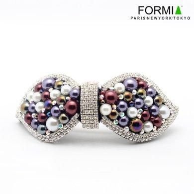 芳美亞Formia發飾發飾發卡水鉆珍珠發夾一字夾橫夾彈簧夾HP6831202  紫夜霧色