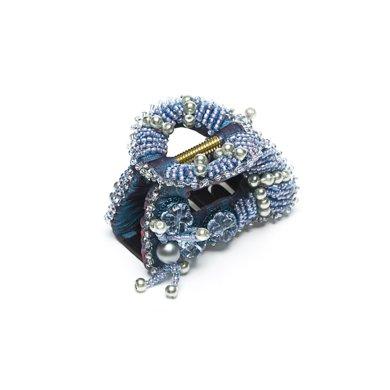 芳美亞formia 韓版發夾香蕉夾發飾頭飾頂夾璀璨水晶帶咬齒抓夾 HZ70607 海水藍