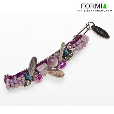 FORMIA芳美亞水晶串珠發夾邊夾頭飾韓版頂夾發卡一字夾劉海夾發飾HB70604  水晶紫