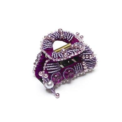 芳美亞formia 韓版發夾香蕉夾發飾頭飾頂夾璀璨水晶帶咬齒抓夾HZ70607 貴族紫