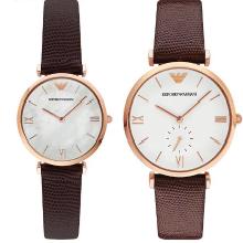 【支持購物卡】Armani阿瑪尼皮帶時尚復古手表 簡約情侶手表情侶款一對AR9042