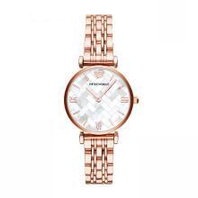 [支持購物卡]Armani阿瑪尼玫瑰金不銹鋼帶手表女 時尚優雅防水石英腕表AR11110