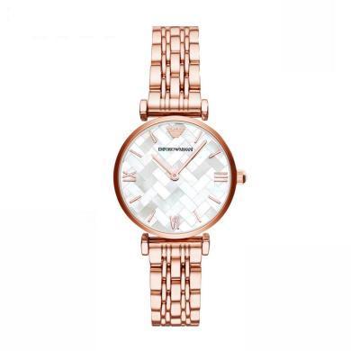 [支持购物卡]Armani阿玛尼玫瑰金不锈钢带手表女 时尚优雅防水石英腕表AR11110