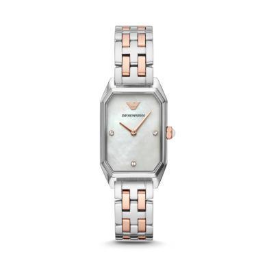 阿瑪尼(Emporio Armani)手表 休閑鑲鉆方表盤鋼帶石英女表AR11146