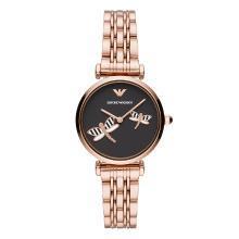阿瑪尼( Emporio Armani )黑表盤手表女ins風 簡約玫瑰金鋼帶女士手表AR11206