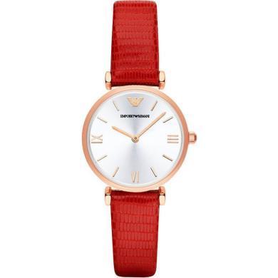 阿瑪尼(Emporio Armani)手表 中國紅皮質表帶休閑女士手表石英表時尚女表AR1876