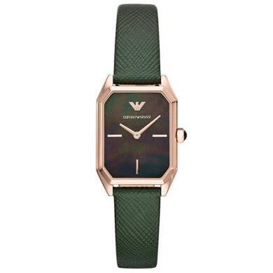 阿瑪尼( Emporio Armani )手表 時尚方盤休閑皮帶石英女表AR11149