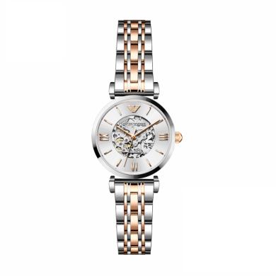 阿瑪尼(Emporio Armani)手表鏤空背透手動機械女表時尚貝母機械女士手表腕表女 AR1992