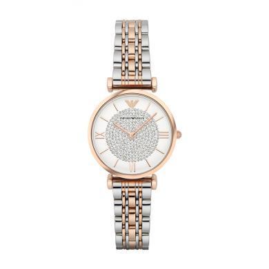 阿瑪尼(EmporioArmani)滿天星手表 鋼制表帶 圓形石英女士手表 AR1926