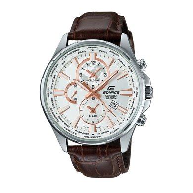 casio卡西歐手表男商務夜光鋼帶皮帶防水石英男士手表EFR-304