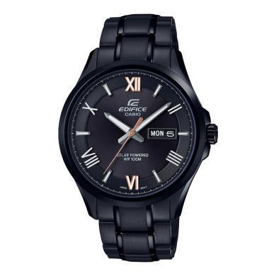 卡西歐手表男太陽能藍寶石休閑商務鋼帶黑色男士手表EFB-104