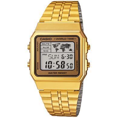 正品卡西欧小金表复古电子时尚潮流中性腕表男女石英手表金色手表