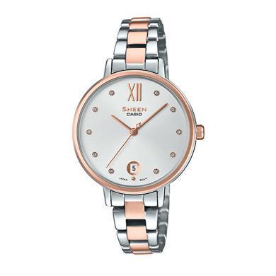 卡西歐手表女石英腕表時尚人造藍寶石防水石英女表SHE-4530
