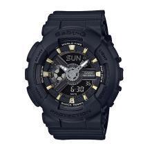 casio卡西欧手表女BABY-G运动防水防震BA-110黑金夜光石英女手表