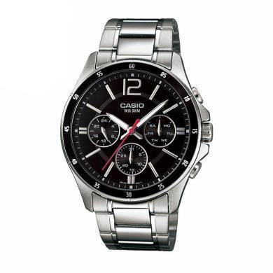 正品卡西歐男表時尚簡約皮鋼帶防水石英男士手表MTP1375D/1374