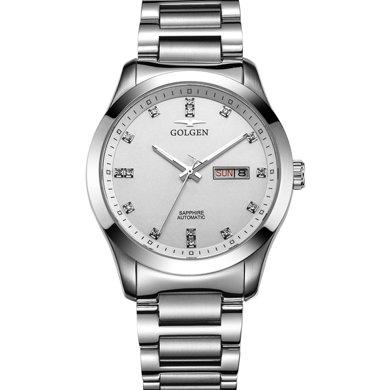 古尊(GOLGEN)手表 水鉆系列機械男表白色GN.6097M.PS