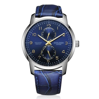 古尊(GOLGEN)手表 炫酷系列石英男表藍色GN.19003M.PU