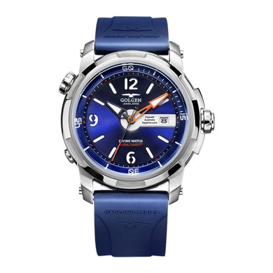 古尊(GOLGEN)手表 蛟龍號500米深度防水游泳戶外運動潛水機械男士手表 藍色GN.6112M.PU