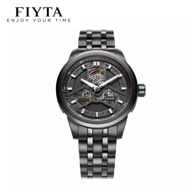 飛亞達(FIYTA)手表 極限系列專柜款 機械男表黑盤鋼帶 鐘表GA8460.BBB
