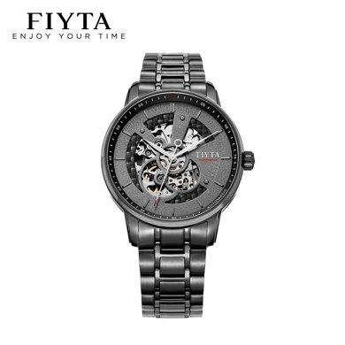 飛亞達(FIYTA)手表 攝影師系列機械男表 黑盤鋼帶 鐘表GA8486.BBB