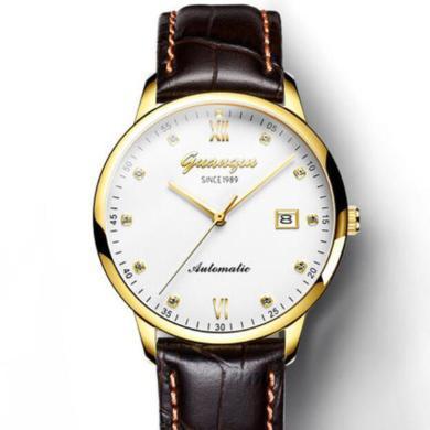 正品冠琴男士手表進口機械表蕊真皮帶男表水鉆防水腕表薄款時尚手表